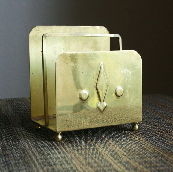 Vintage Brass Letter or Napkin Holder - Mid Century