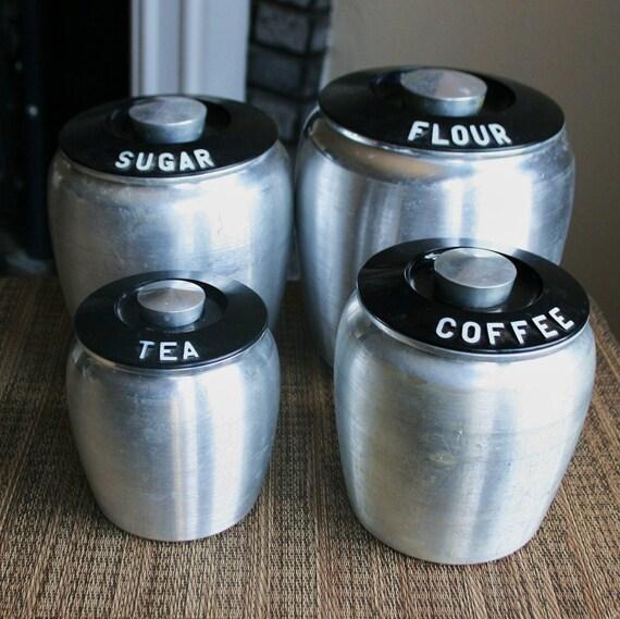 Vintage Set of 4 Large Kromex Spun Aluminum Canisters - Flour, Sugar, Coffee, Tea