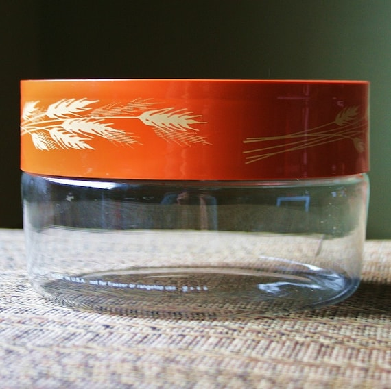 Retro Pyrex Glass Container Jar - Autumn Harvest Lid