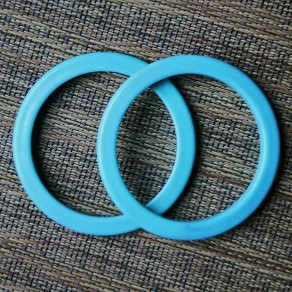 Pair of Retro Turquoise Plastic Bangles