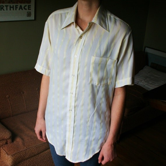 Vintage Mens Polyester Button Up - Sears Golden Comfort Stretch - Yellow and White - 42 Chest