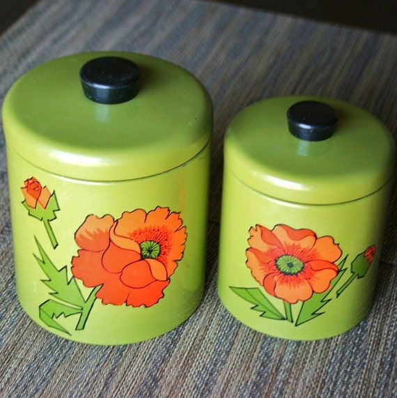 Pair of Vintage Floral Green Metal Canisters - Ransburg USA