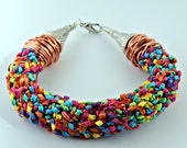 Japanese Kumihimo Bracelet in Textured Ribbon with Copper and Silver Wire
