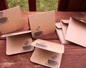 Mini Coffee Note Cards - Coffee Mugs Kraft Card Set, Small Thank You Notes, Coffee Java Latte Tea