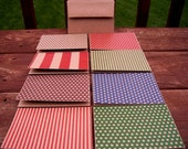Kraft Note Cards, Kraft Stationery Set, Thank You Cards - Red Green Blue Brown Kraft Dots & Stripes