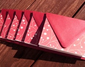 Berry Branch Stationery Set - Shimmery Red Ivory Glittered Berry Branches, Winter Berries