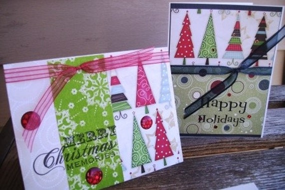 Set of (2) holiday greetings - colorful trees