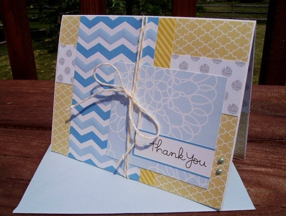 Thank You Card - Friend Thank You, Blue Yellow Grey, Embossed Chevron Stripes