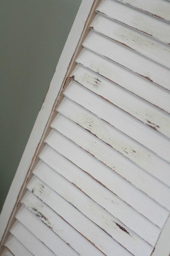 Cream On White Vintage Painted Shutter