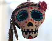 Hippie Sugar Skull Necklace - White