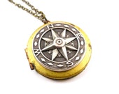 VIntage Compass Locket, Find Me, Brass and Silver, Spring Fashion, Mothers Day
