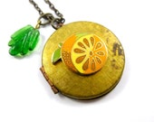 Summer Citrus Locket, Vintage Brass Locket, Long Chain Necklace, Lemon, Orange, Green Glass Leaf