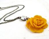 Mustard Rose Necklace, Vintage Aurora Borealis Glass Gem, Yellow Flower Jewelry