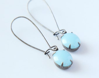 Smooth Robin's Egg earrings - vintage glass, Light Blue Glass Cabochon in Brass settings, Handmade Jewelry