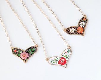 Floral Heart Necklace - Pink Mum, Red Rose or Orange Daisy - Pick one