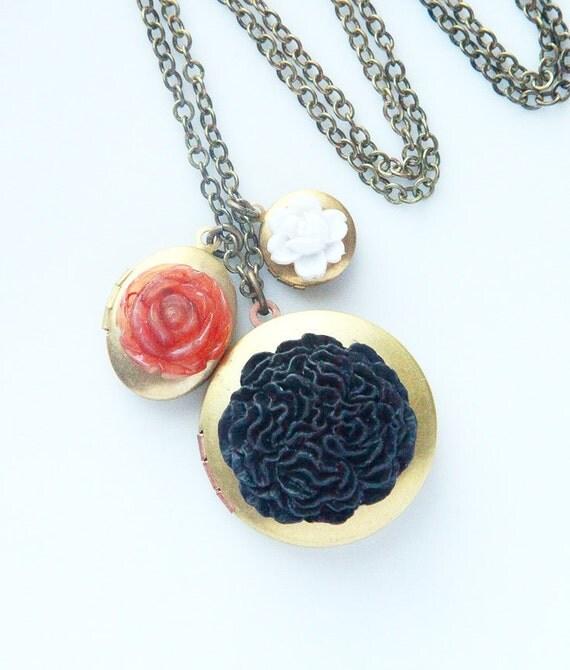 SALE - Locket Trio - Black, Brown, Ivory Flowers - Vintage Locket Necklace