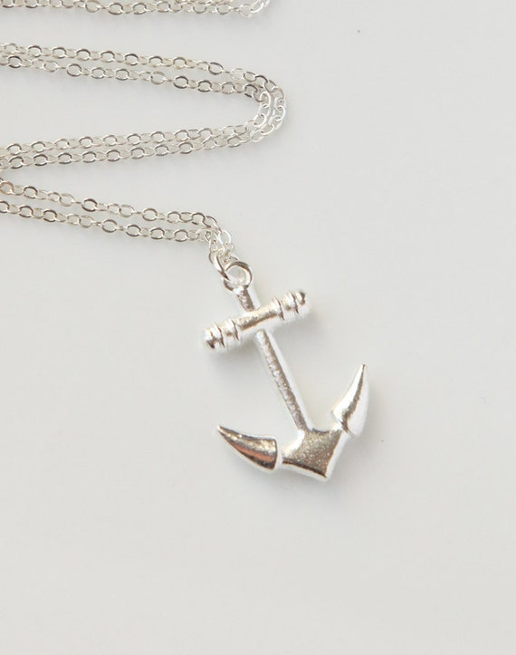 Simple Silver Anchor Necklace