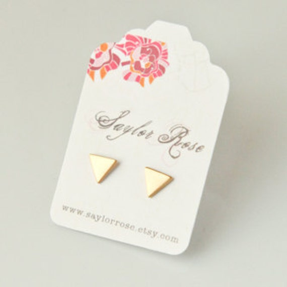 Teeny Tiny Triangle Post Stud Earrings, Spring fashion