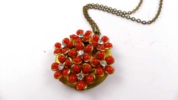 Vintage Red Wild Flower Locket Necklace, Handmade,  Upcycled, Recycled