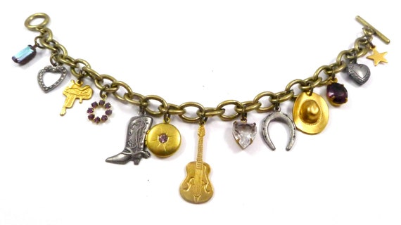 Vintage Charm Bracelet, Happiness is Country Music, Handmade, Saddle, Western Boot, locket, Guitar, Heart, Horseshoe, Bucket Hat, Star