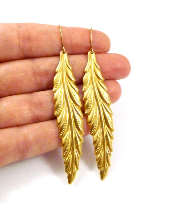 Gilded Feathers, Gold Fill Ear wire, Long, dangle, Leaves, Bohemian, Handmade Jewelry