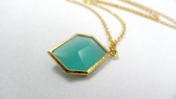 Prism Necklace - Aqua and Gold, Geometric Glass, Modern shape, Handmade Jewelry