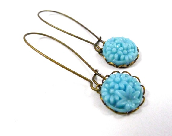 Tiny Turquoise Garden, Vintage Floral Glass, Drop Earrings, Handmade