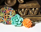 Flower Hair Pins  with Flower Cabochons  with a Beauitful Wooden Vintage Button - Set of 3 Assorted.