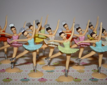 12 Ballerina Cupcake Toppers Assorted  Color Tutu's Custom Hand painted Very Vintage looking
