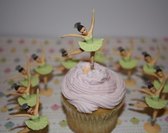 Ballerina Cupcake Toppers Tutu's in Pale Light Green,  Vintage Looking Custom Hand Painted