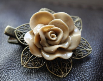Hair Clip - Tan Flower - Filigree Alligator Clip - Hair Accessories - Hair Pin