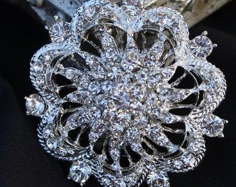 Rhinestone Brooch Pin - Rhinestone Silver tone Wedding Brooch -  Vintage Style Brooch- Perfect For Bridal Bouquets - Bridal Sash- Abbyrose