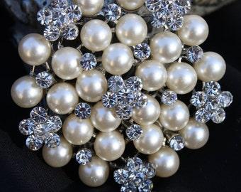 Rhinestone Pearl Brooch Pin - Rhinestone Pearl Silver tone Crystal Brooch - Perfect For Bridal Bouquets - Bridal Sash-MissLily