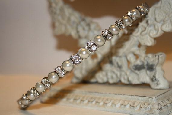 Headband Bridal- Bridal Headband - Rhinestones and Pearls Headband--Bridesmaid Headband- Flower Girl Headband- Prom Headband