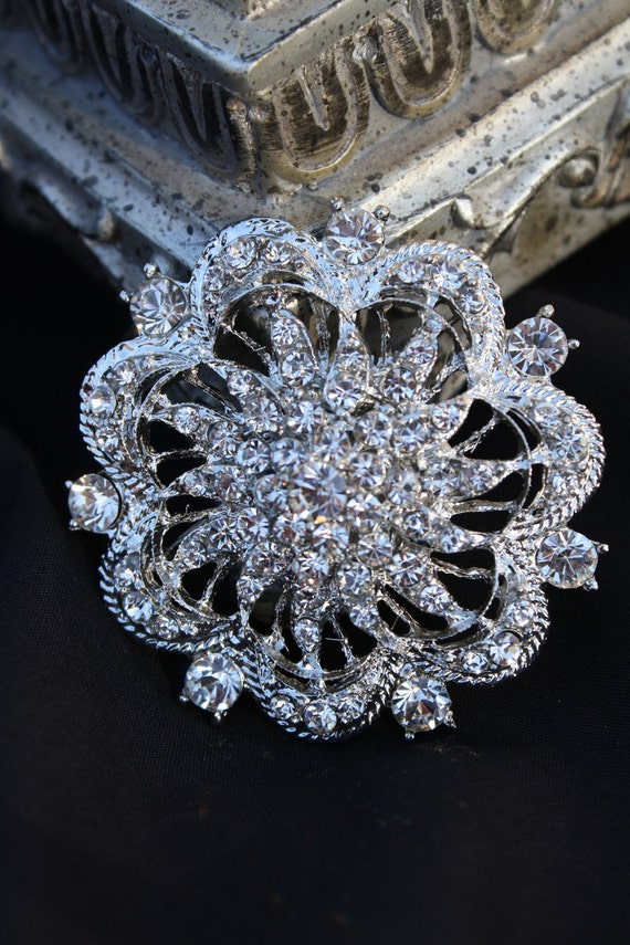 Rhinestone Brooch Pin - Rhinestone Crystal Brooch -  Vintage Style Brooch- Perfect For Bridal Bouquets - Bridal Sash- Abbyrose
