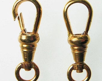Vintage Gold Plated Brass Pocket Watch Swivel Clasps Germany Lot of 4