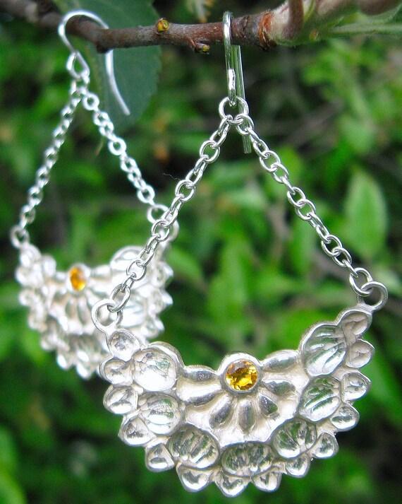 Lotus Pinnatus Sterling Silver and Citrine Earrings