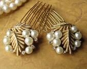 Pearl Rhinestone Gold Hair Combs Vintage Details