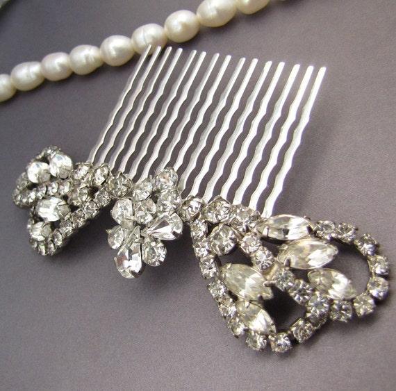 Rhinestone Bridal Tiara Comb - Vintage Assemblage