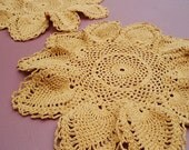 Vintage autumn doiley, hand crocheted