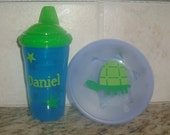 Boy Sippy Cup and Snack bowl with Lid - Can be monogrammed or personalized with name