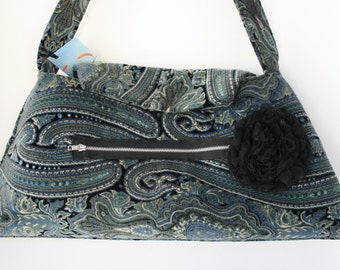 Upcycled Purse in Black and Blue Velvet