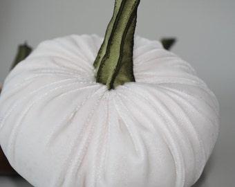 Pumpkin in Plush Velvet - White  - small - with handmade stem