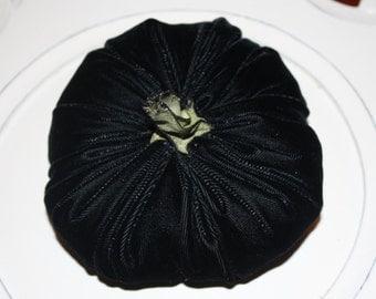 Pumpkin in Black Velvet - Medium - With handmade stem