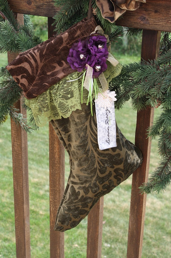 Velvet Christmas Stocking in Chocolate with Purple Flowers - MADE TO ORDER