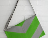 50% closeout. Chevron Cross body bag. Grey and Green.