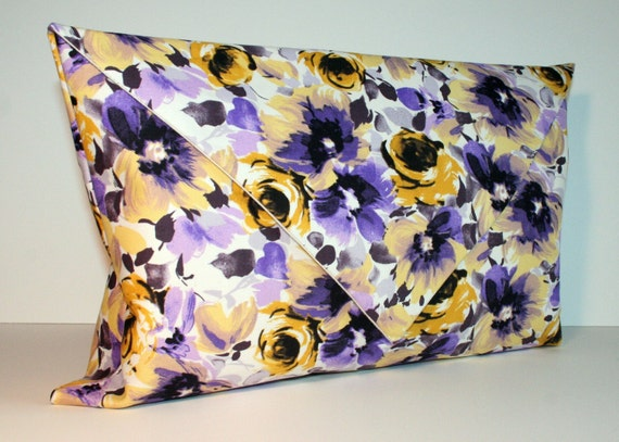 Floral envelope clutch purse. Purple, lovely spring print.
