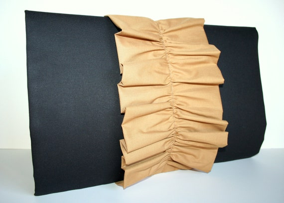 Ruffle clutch purse with fold over flap. Black with Tan ruffle.
