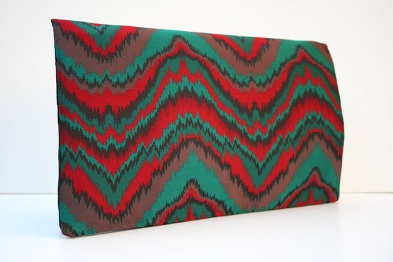 Holiday satin patterned clutch. Evening cocktail bag. Green and red waves.