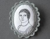Crochet Lace and Fabric Brooch - Renaissance Portrait Fiber Cameo - Last one